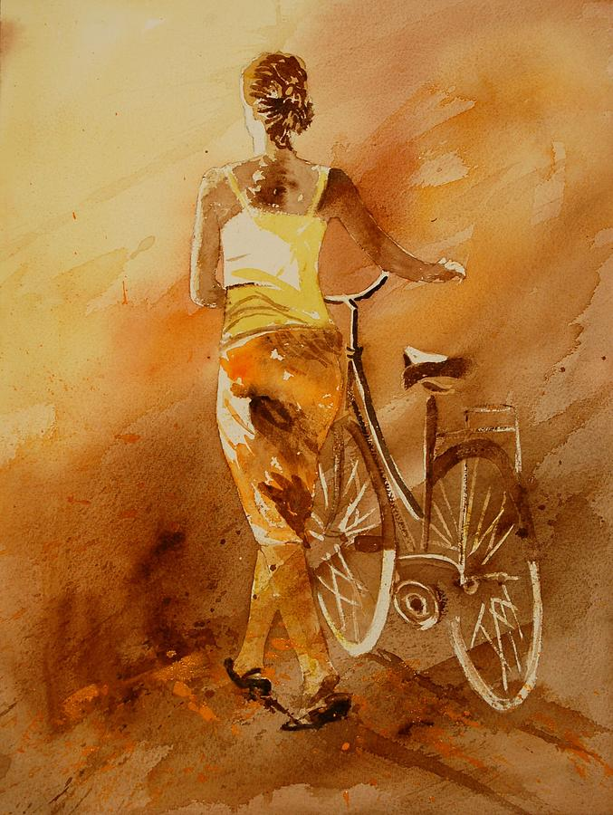 Figurative Painting - Watercolor With My Bike by Pol Ledent