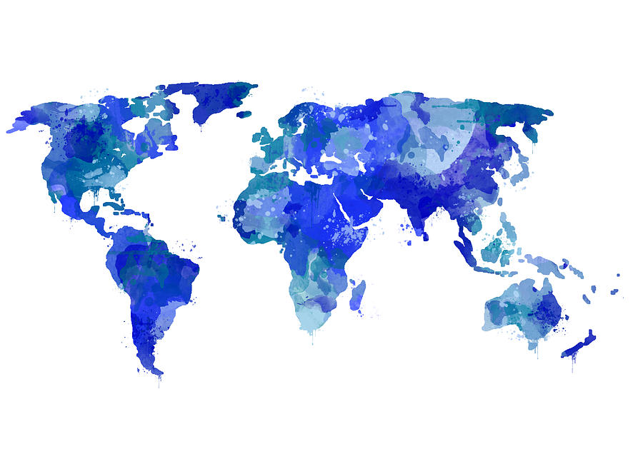Watercolor World Map Blue Digital Art by Michelle Eshleman