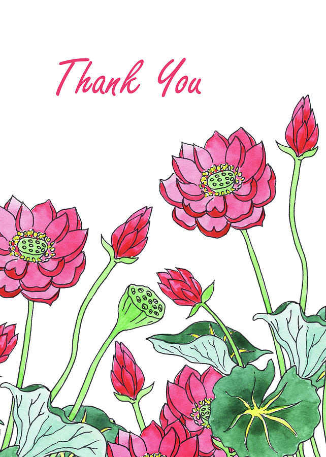 Watercolour Lotus Flower Thank You Card Painting By Irina Sztukowski