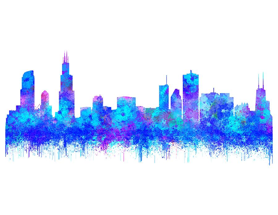 Watercolour Splashes and dripping effect Chicago Skyline by Georgeta Blanaru