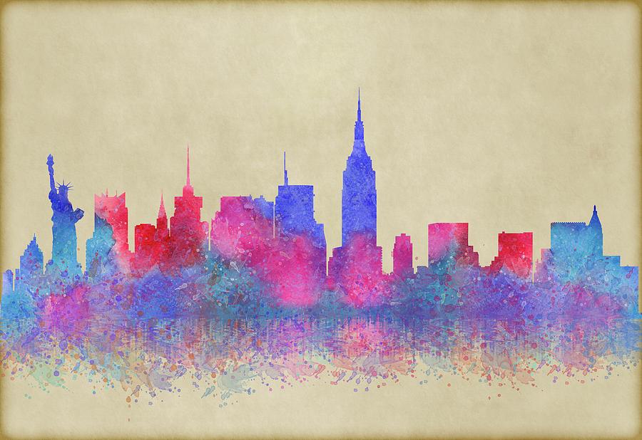 Watercolour Digital Art - Watercolour Splashes New York City Skylines by Georgeta Blanaru