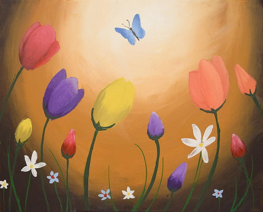 Watercolours Butterfly Original Flower Floral Painting Wall Art Acrylic Abstract