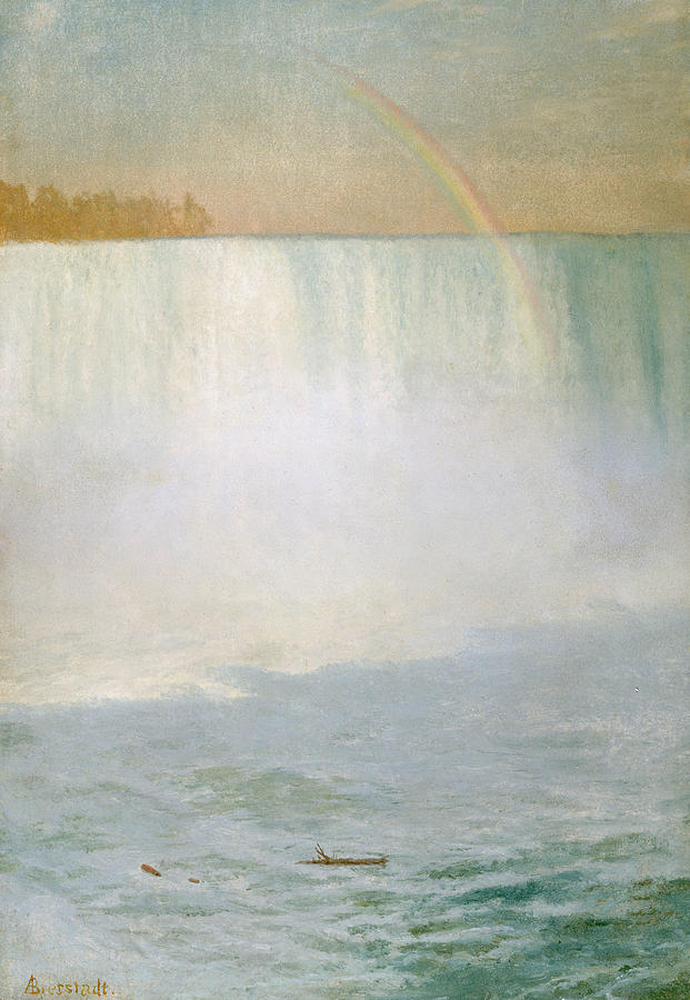 Rain Painting - Waterfall And Rainbow At Niagara Falls by Albert Bierstadt