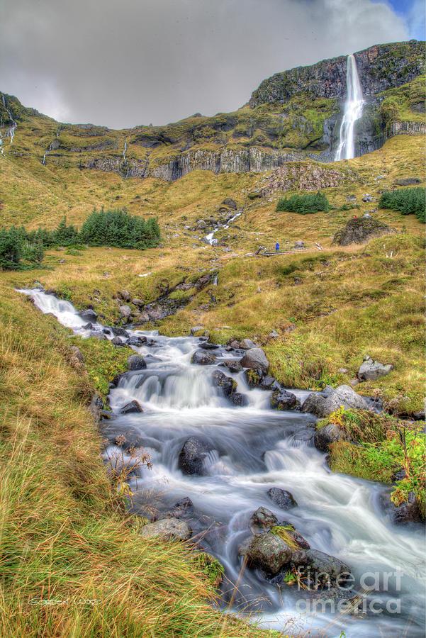 Waterfall and Stream near Budir, Iceland by Gordon Wood