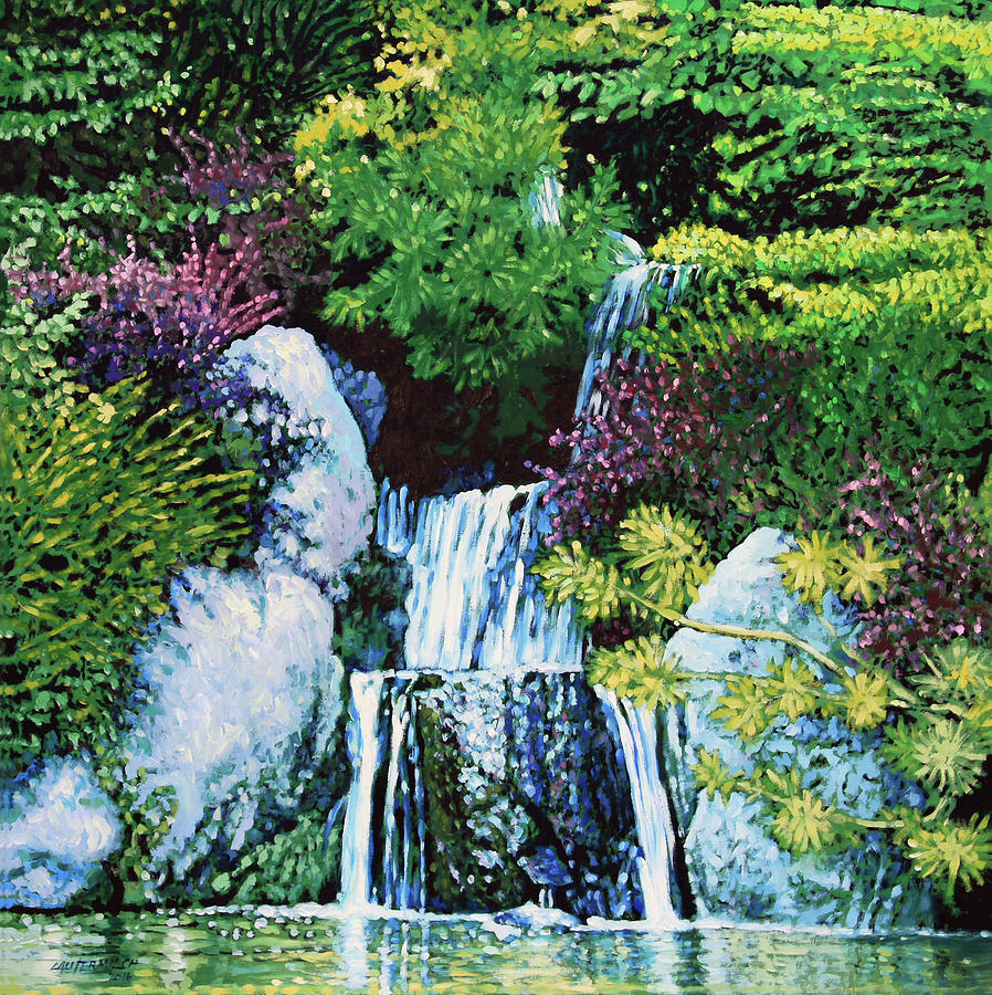 Waterfall Painting - Waterfall At Japanese Garden by John Lautermilch