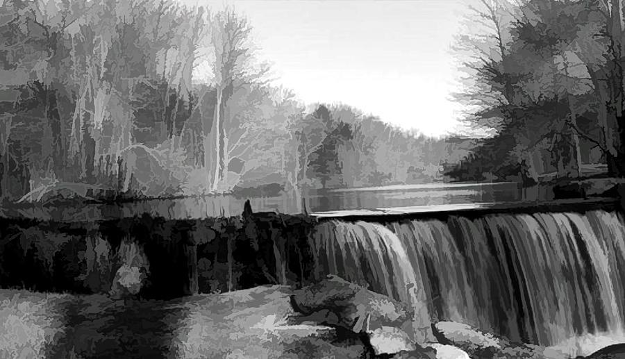 Waterfall Digital Art - Waterfall at Jelliff Mill by Christine Segalas