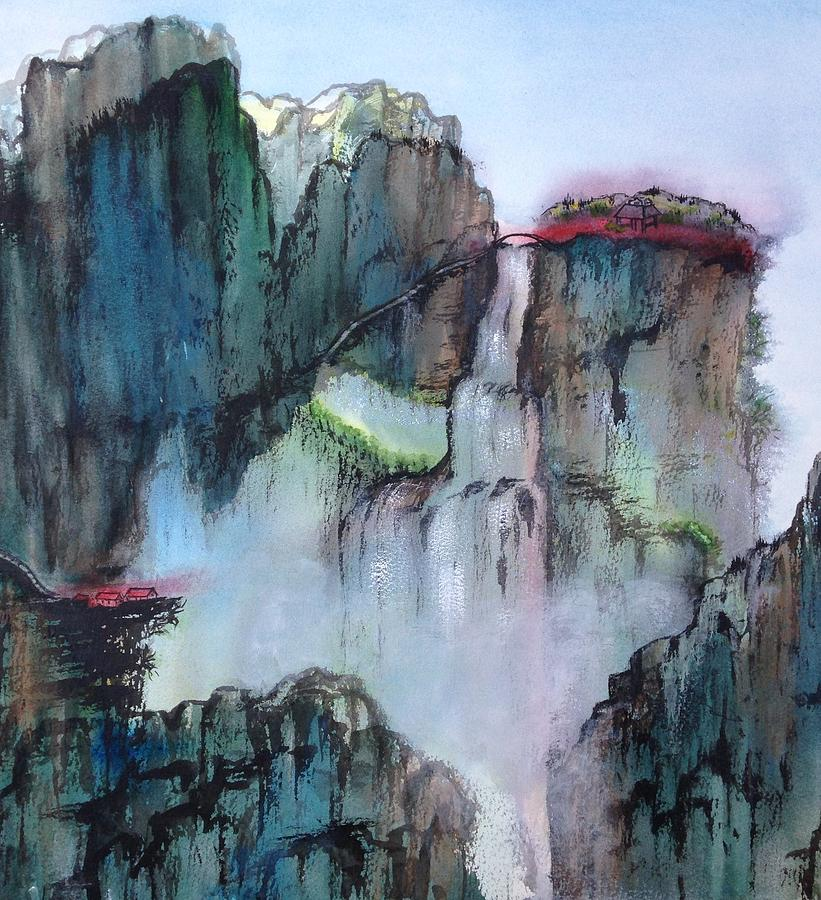 Chinese Painting - Waterfall by Bonnie Rabert
