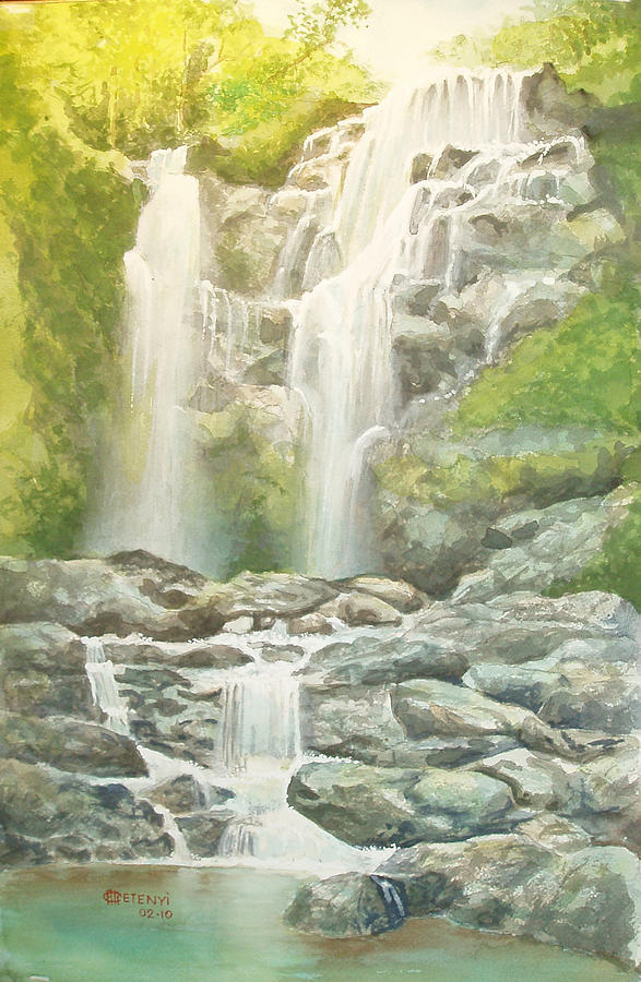 Water Fall Painting - Waterfall by Charles Hetenyi