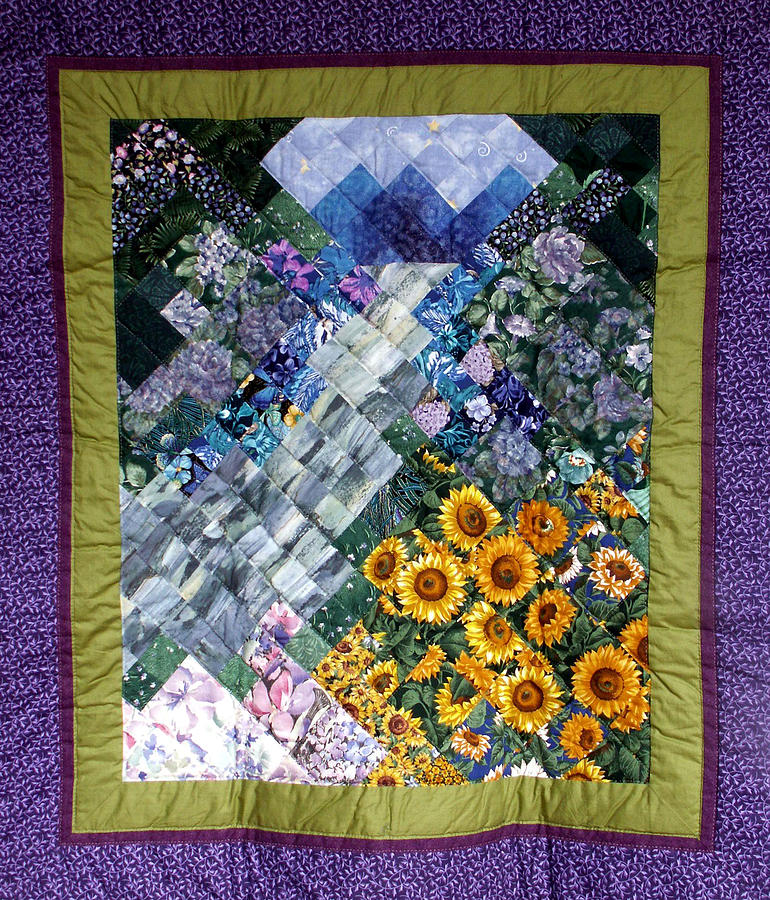 Landscape Tapestry - Textile - Waterfall Garden Quilt by Sarah Hornsby