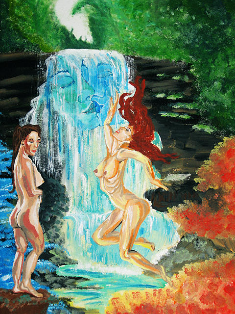 Waterfall Painting - Waterfall by Heidi Berkovitz