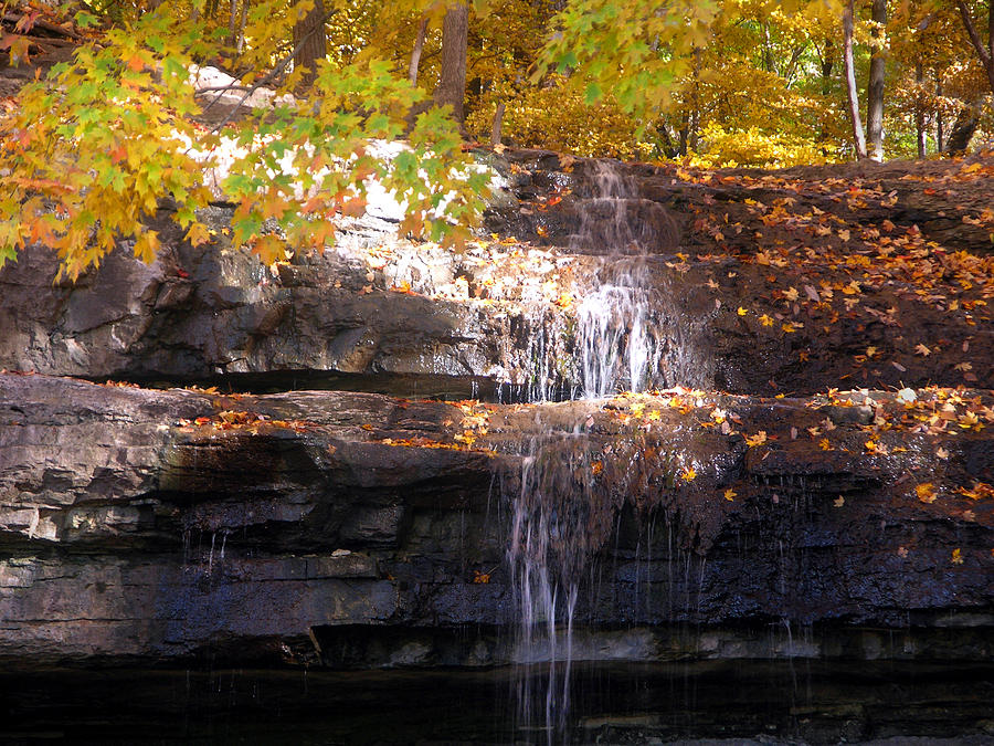 Waterfall Photograph - Waterfall In Creve Coeur by John Lautermilch