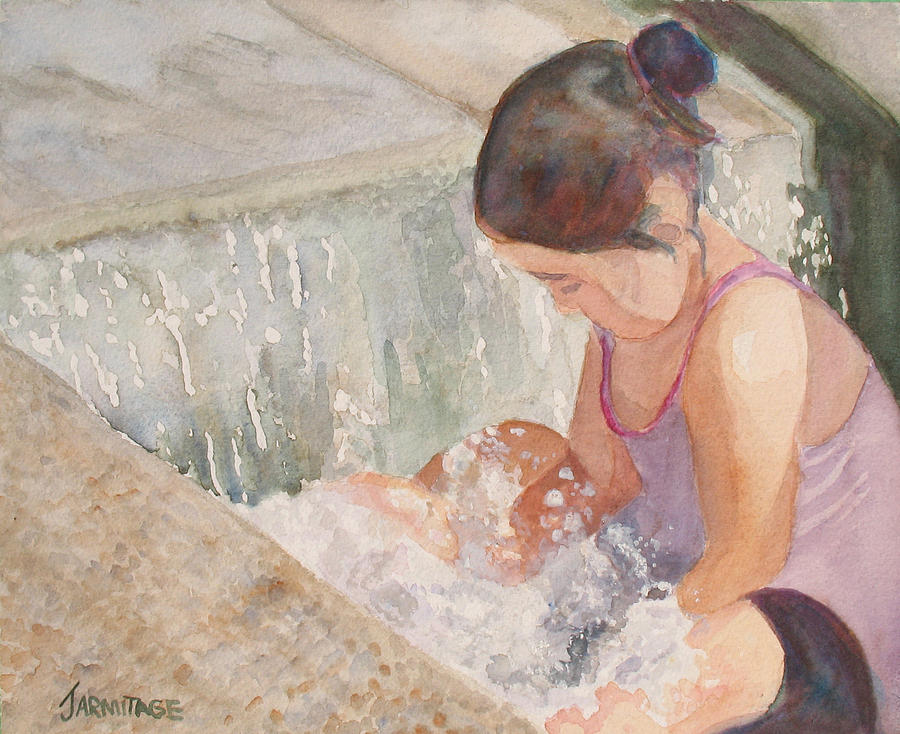 Girl Painting - Waterfall In Her Lap by Jenny Armitage