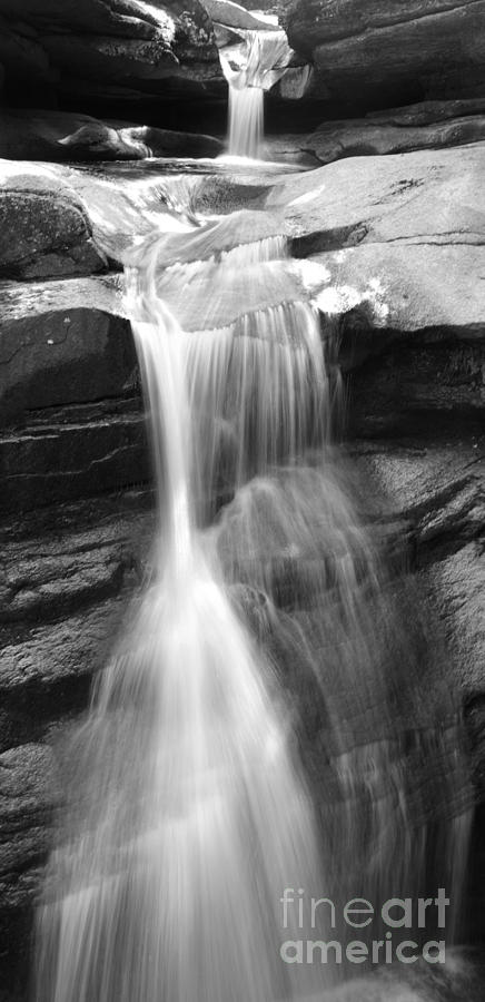 New England Photograph - Waterfall In Nh Black And White by Michael Mooney