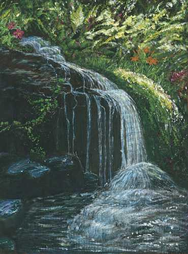 Waterfall Painting by James Lavin