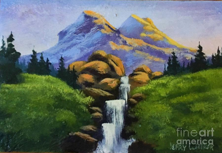 Trees Painting - Waterfall  by Jerry Walker