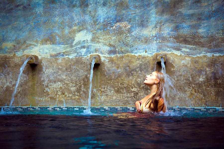 Pool Photograph - Waterfall Mermaid by Karl Alexander