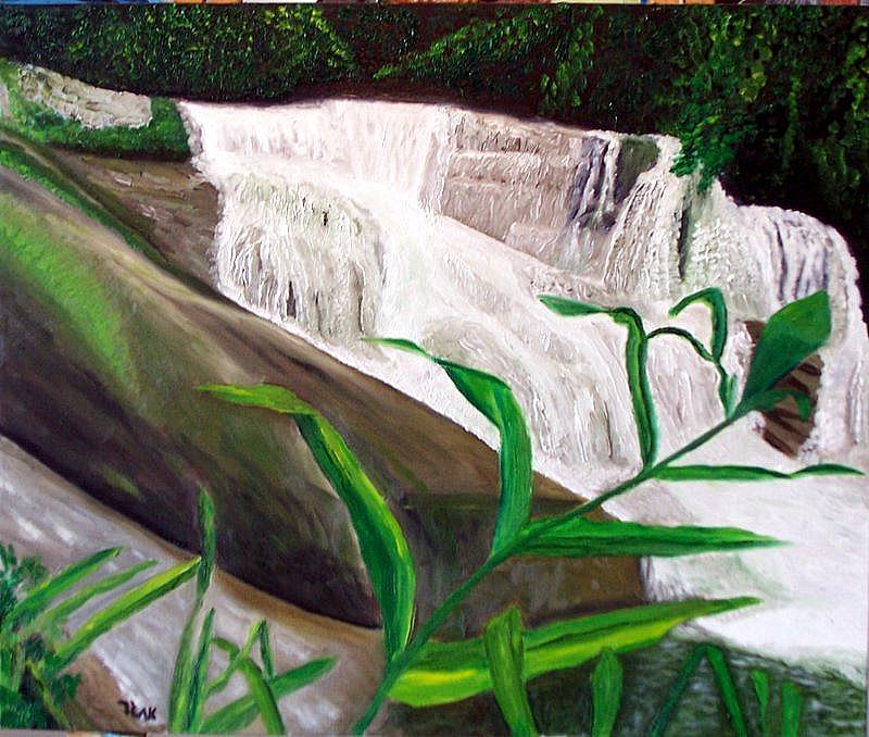 Waterfall Of Pedra Branca Painting by Edgard Loepert