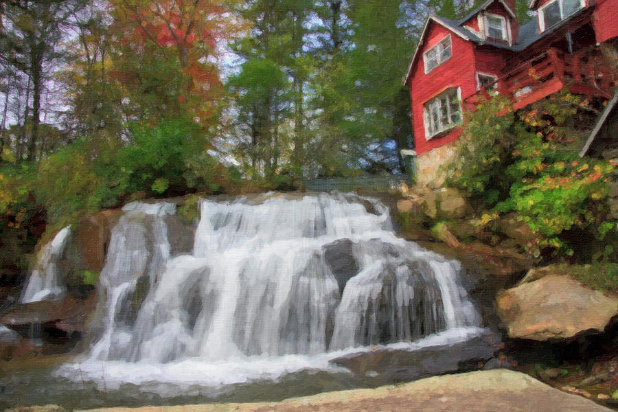 Oil Digital Art - Waterfall Painting by Jill Lang