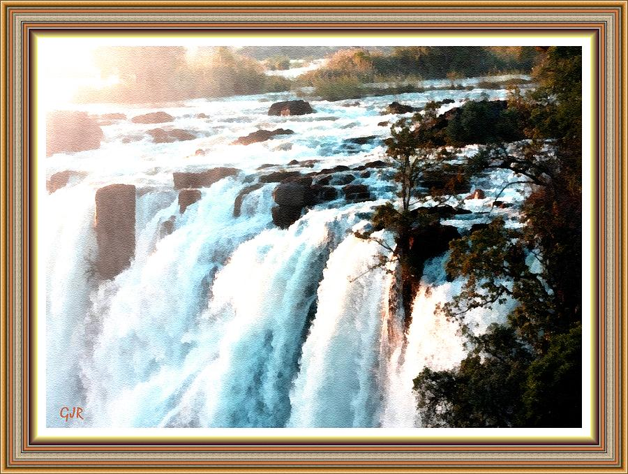 Waterfall Digital Art - Waterfall Scene For Mia Parker - Sutcliffe L A S With Decorative Ornate Printed Frame.  by Gert J Rheeders
