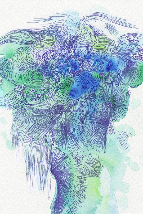 Waterfall Drawing - Waterfall - #ss16dw044 by Satomi Sugimoto