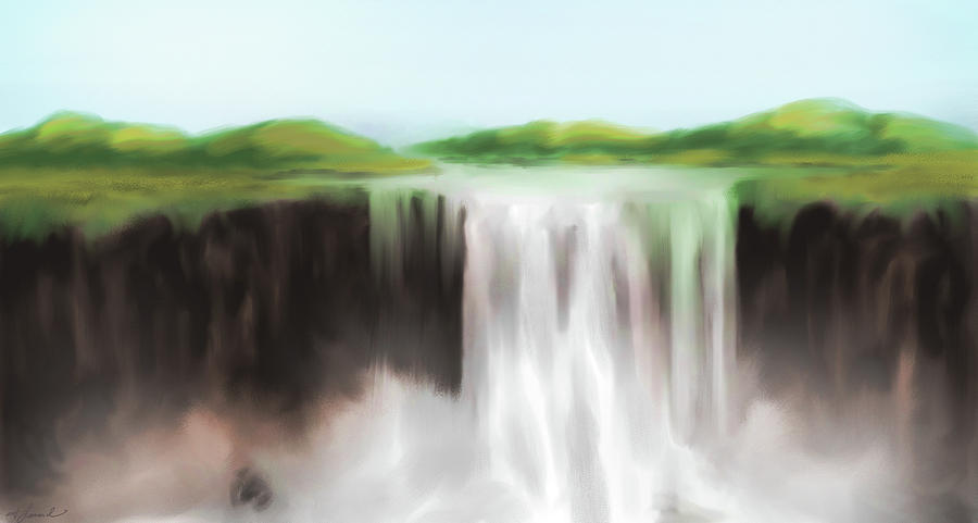 Water Painting - Waterfall Study 1 by James Leonard