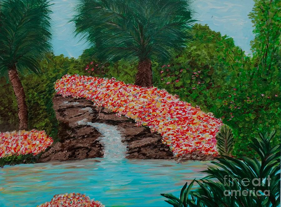 Waterfalls And Flowers Acrylic Painting