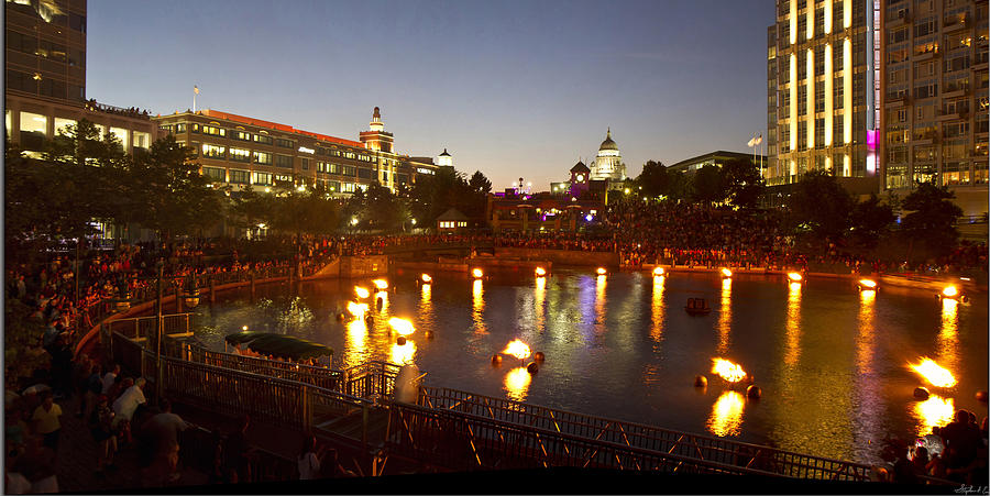 Waterfire Photograph - Waterfire by Stephen EIS