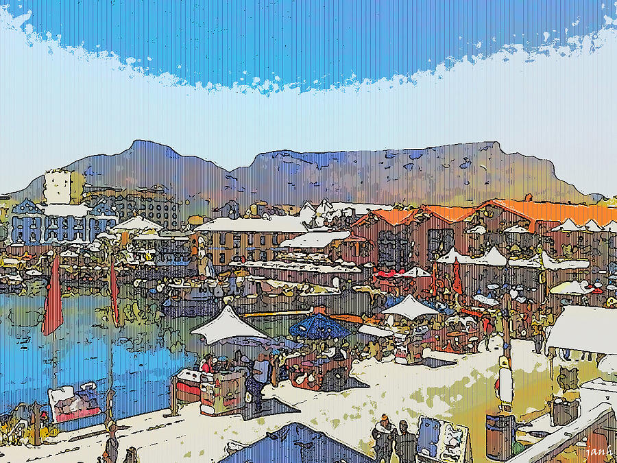 Sea Digital Art - Waterfront And Table Mountain by Jan Hattingh