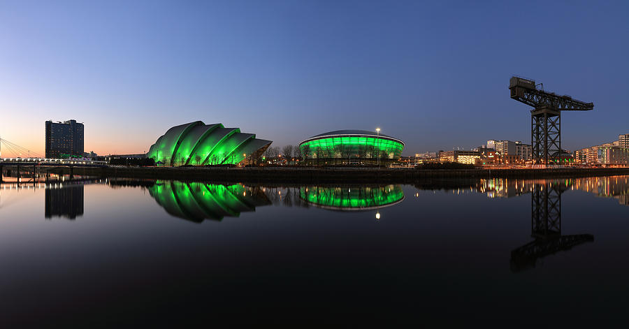 Panoramic Image Photograph - Waterfront Pano in the Twilight by Grant Glendinning