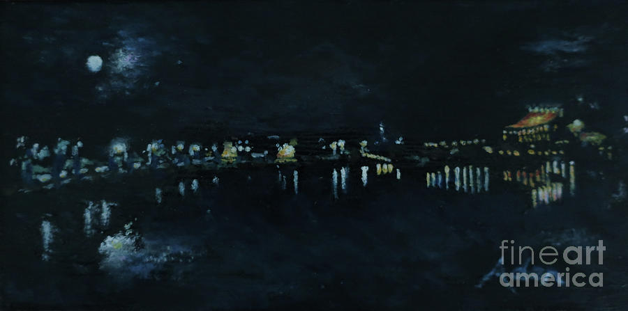 Waterfront Park October Night Painting Painting