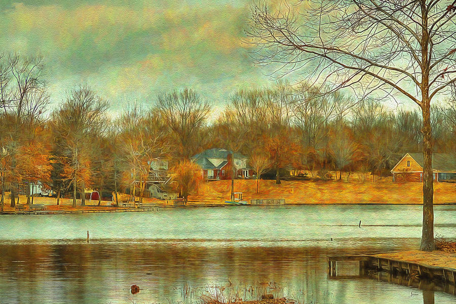 Waterfront Painting - Waterfront Property - Lake Landscape by Barry Jones