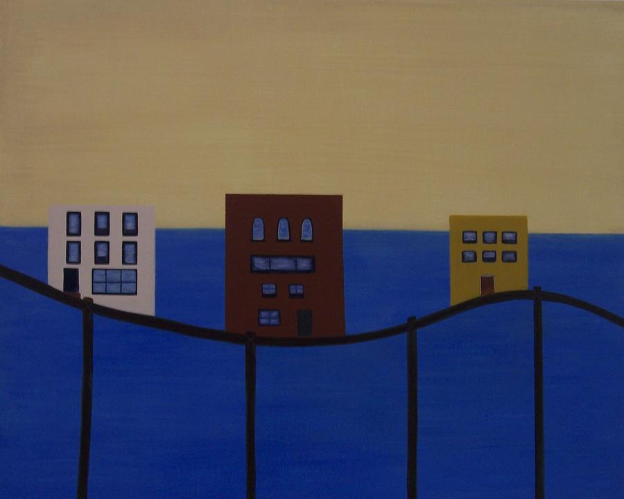 Abstract Painting - Waterfront Property by Sandy Bostelman