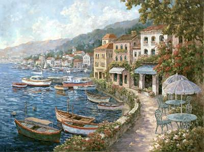 Boats Print - Waterfront Restanrante by Yuri