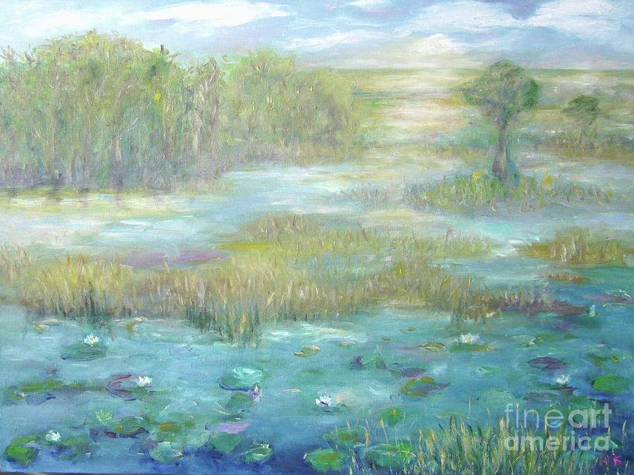 Water Scenery Painting - Waterglades Park 2 Of Palm Beaches by Barbara Anna Knauf