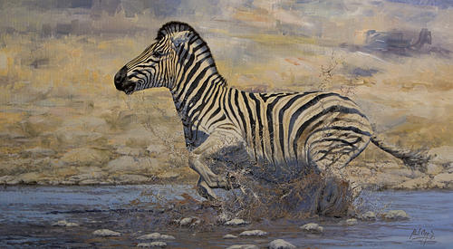 African Painting - Waterhole Panic by Paul Apps