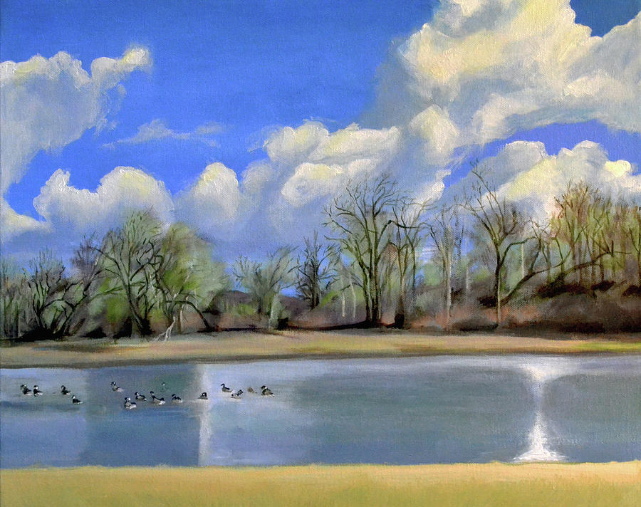 Vancouver Painting - Watering Hole with Geese by Mary Chant