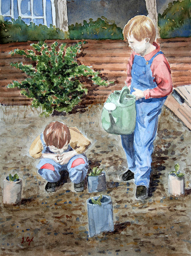 Watering The Plants Painting by John Cox