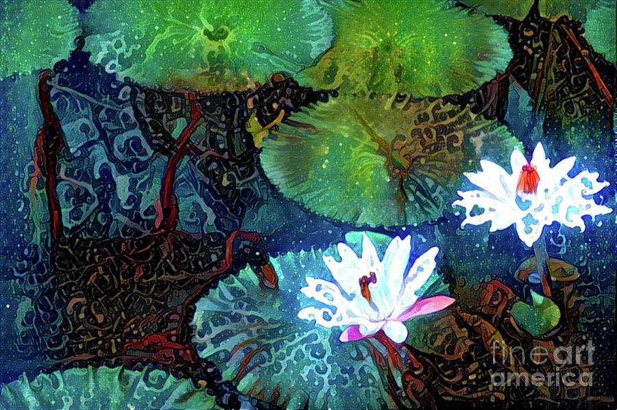 Aquatic Plant Digital Art - Waterlilies 19 by Amy Cicconi