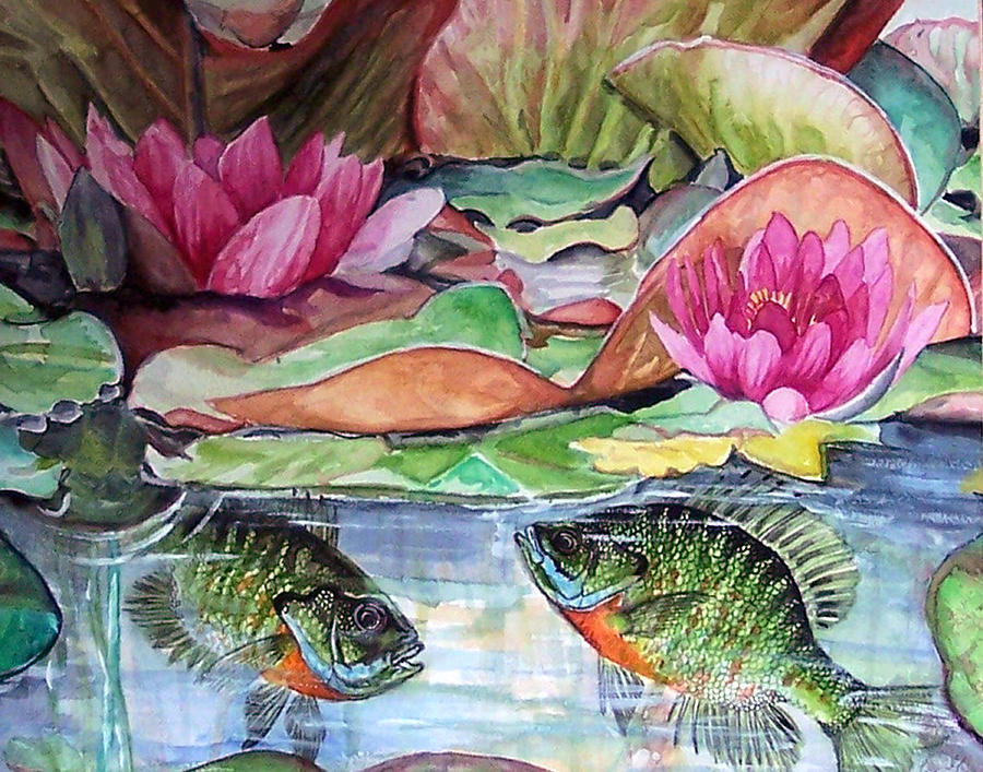 Waterlillies Print - Waterlillies And Blue Giles by Bette Gray