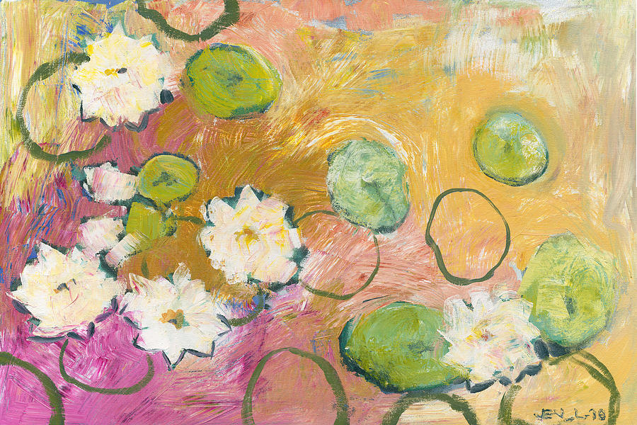 Lilly Painting - Waterlillies At Dusk by Jennifer Lommers