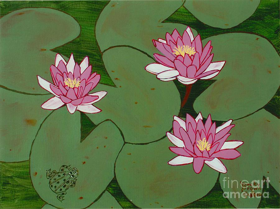 Frog Painting - Waterlillies by Becky  Brown
