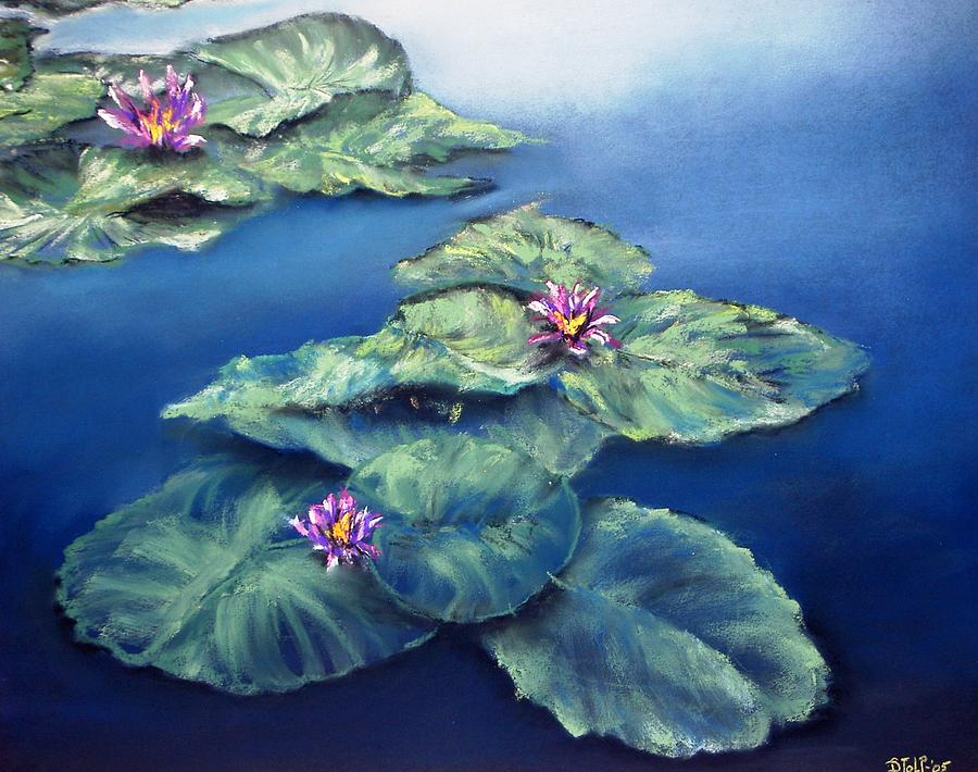 Pastel Painting - Waterlillies by Dick Stolp