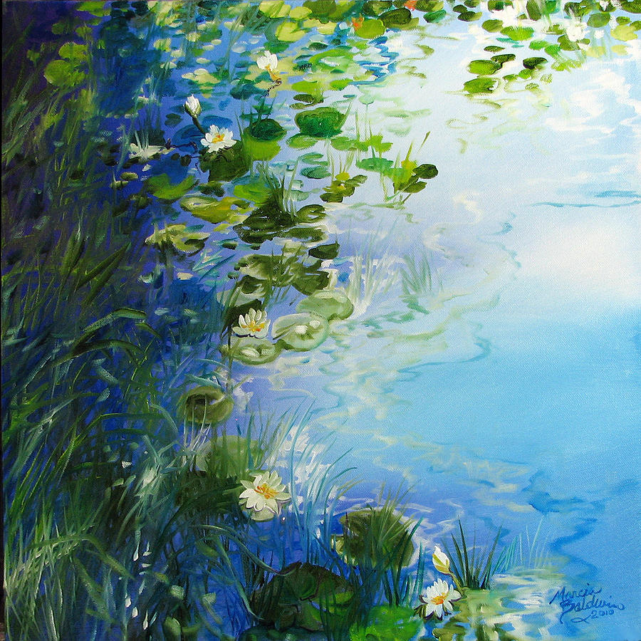 Waterlily Painting - Waterlily Landscape by Marcia Baldwin