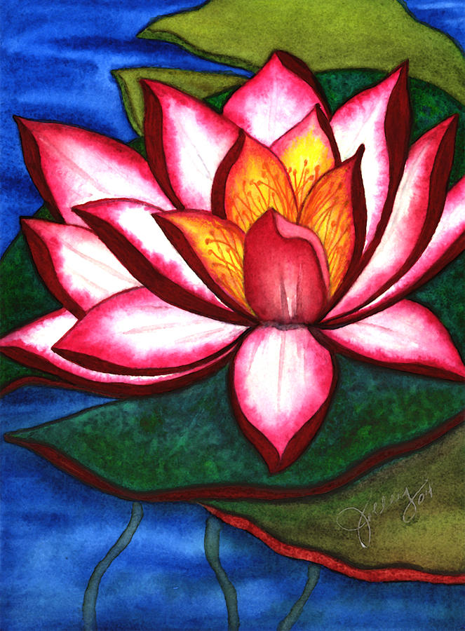 Watercolor Painting - Waterlily by Stephanie  Jolley