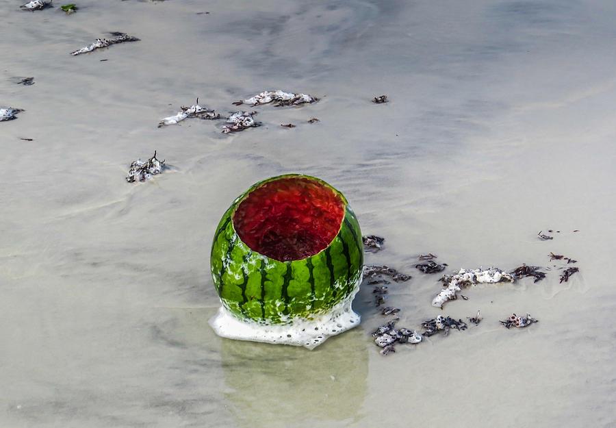 Watermelon on the beach by MaryAnn Barry