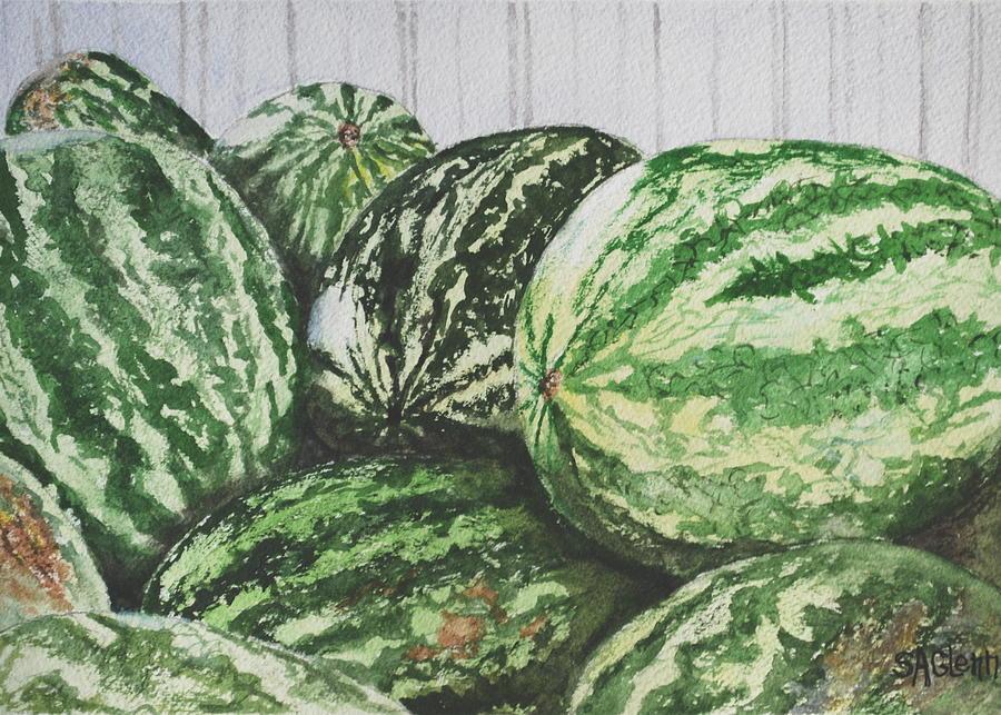 Watermelon Painting - Watermelon by Sue Ann Glenn