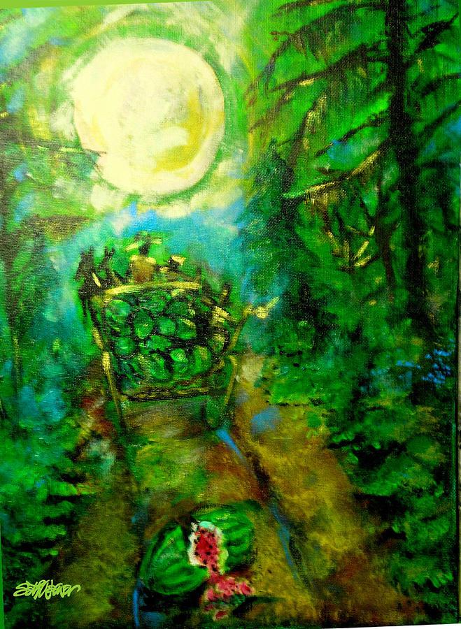 Farmer Painting - Watermelon Wagon Moon by Seth Weaver