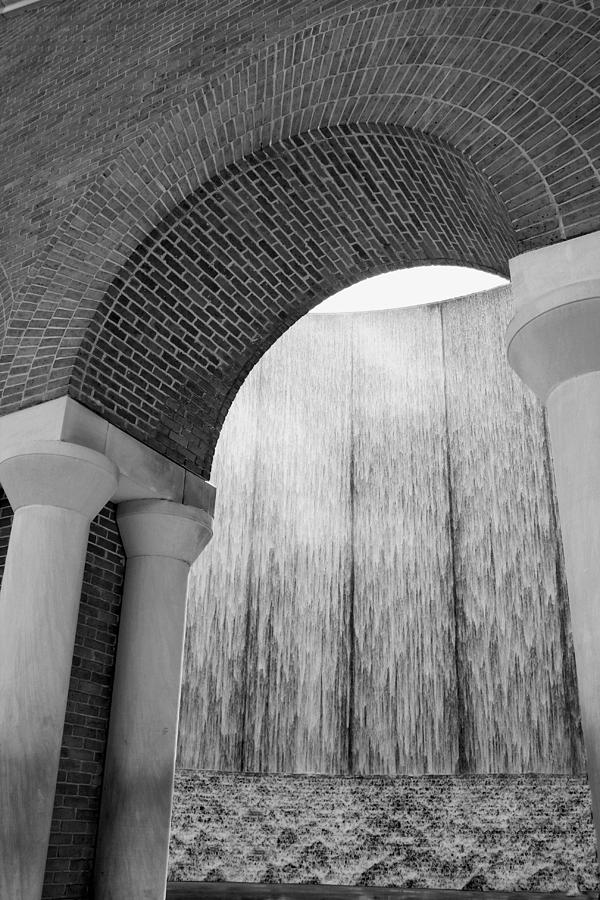 Waterwall and Arch 2 in Black and White by Angela Rath
