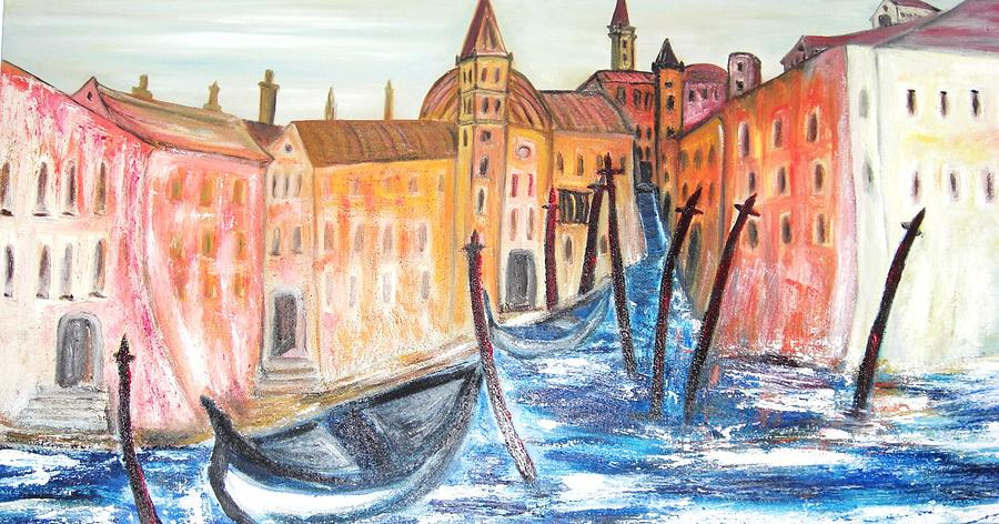 Cites Painting - Waterways Venice Italy by Hannelore Amon