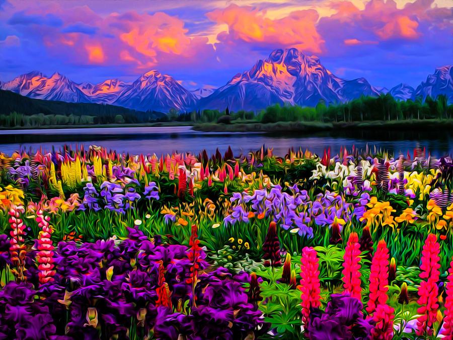 watery flowery mountain art photograph by ron fleishman